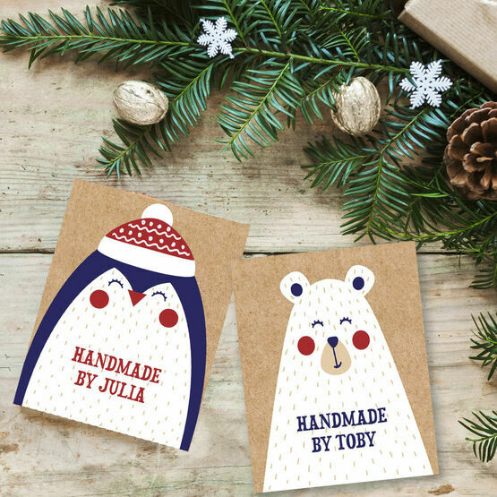 Penguin & Bear Personalised Christmas Printable Gift Tags