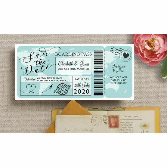 Boarding Pass Wedding Save The Date
