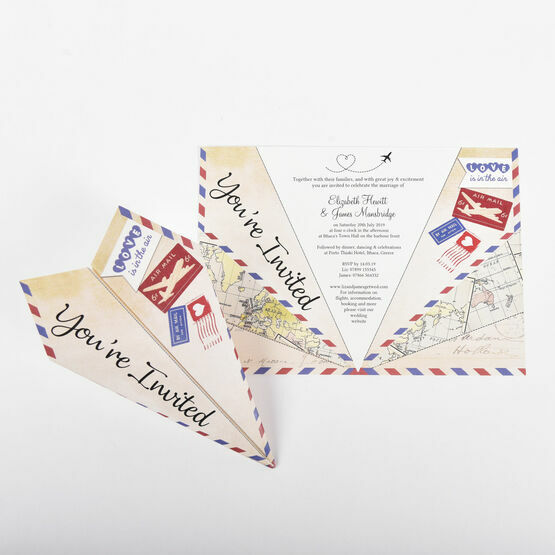 Vintage Airmail Paper Airplane Wedding Invitation