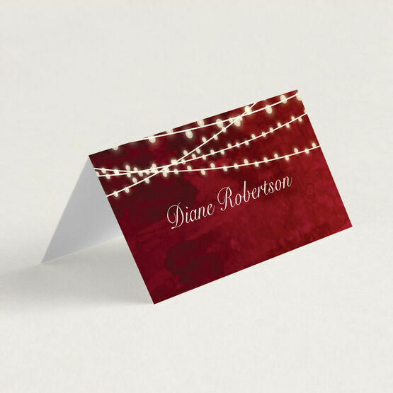 Ruby Fairy Lights Folded Wedding Place Cards