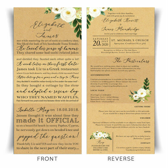 'Our Love Story' Cream Flowers Wedding Invitation From £2