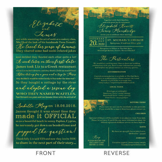 'Our Love Story' Emerald & Gold Wedding Invitation