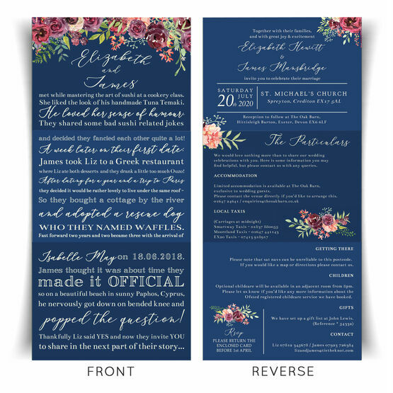 'Our Love Story' Navy & Burgundy Floral Wedding Invitation