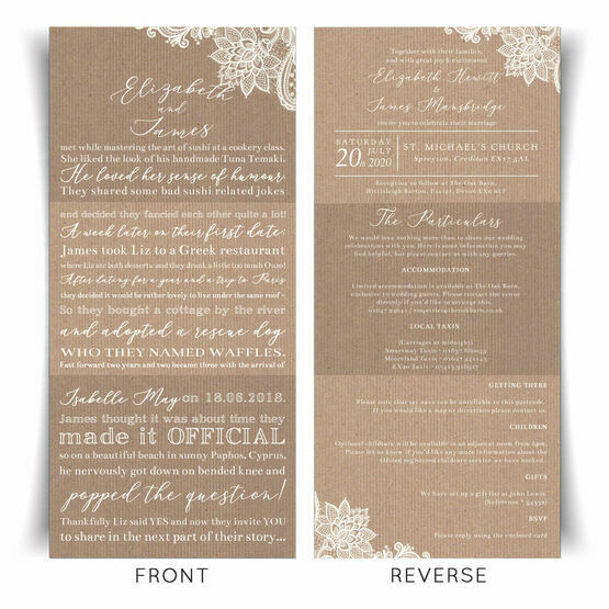'Our Love Story' Rustic Lace Wedding Invitation From £2.25