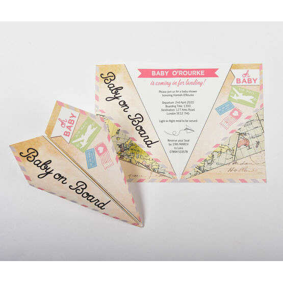 Pastel Paper Airplane Baby Shower Invitation