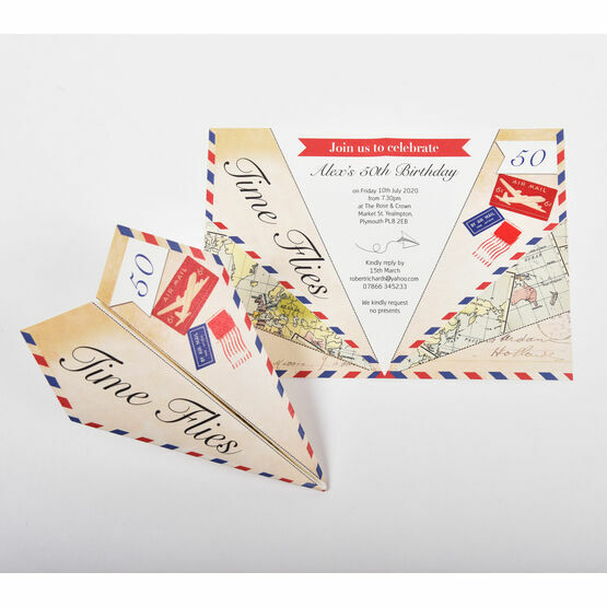 Paper Airplane Milestone Birthday Party Invitation