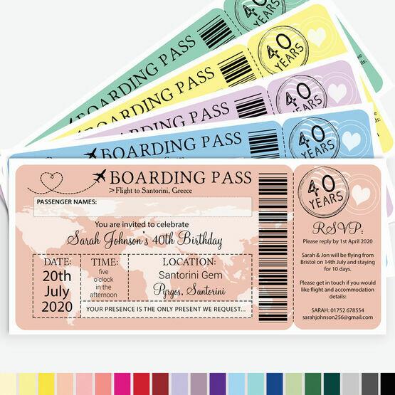 Boarding Pass Milestone Birthday Party Invitation