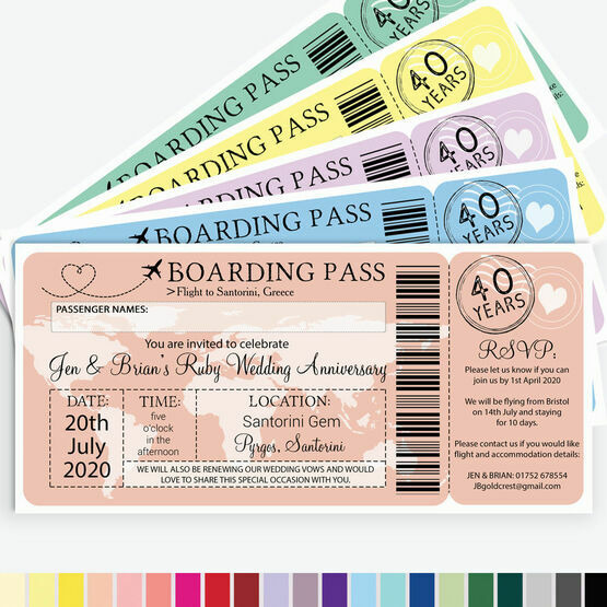 Boarding Pass Wedding Anniversary Invitation From £0.90 Each