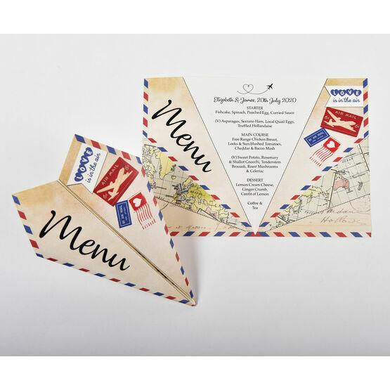 Paper Airplane Wedding Menu