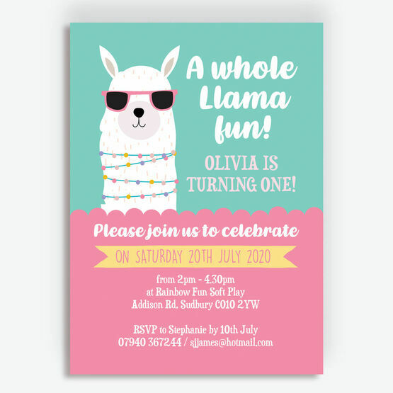 'Whole Llama Fun' Birthday Party Invitation