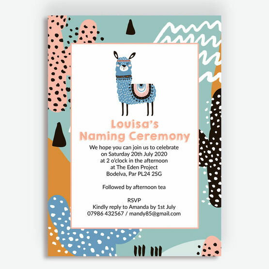 Boho Llama Naming Day Invitation