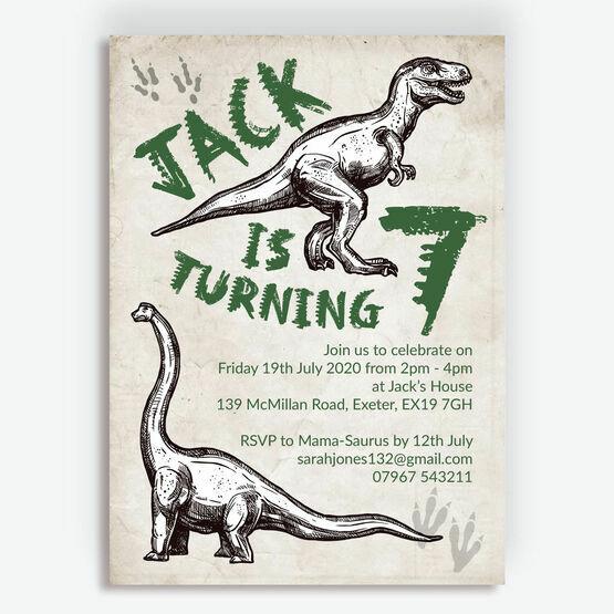 Jurassic Dinosaur Birthday Party Invitation