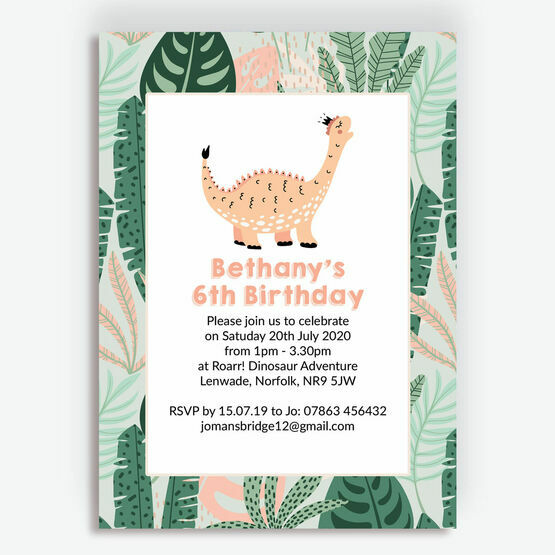 Cute Dinosaur Girl's Birthday Party Invitation