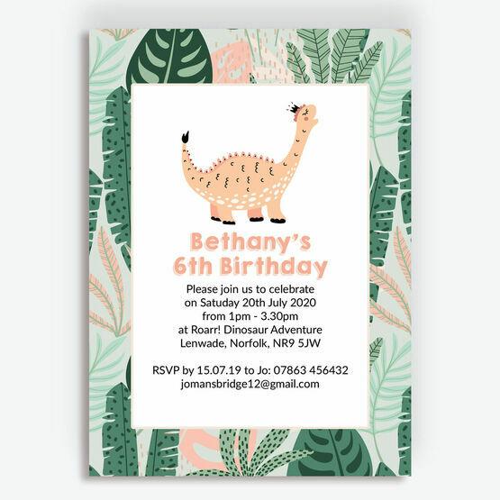 Cute Dinosaur Girl's Birthday Party Invitation