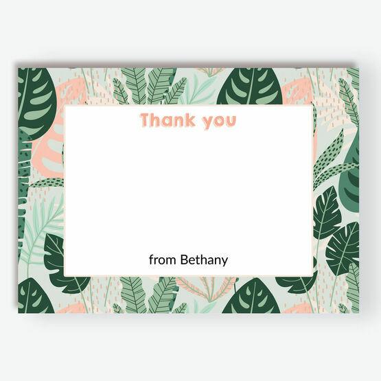 Mint & Peach Tropical Leaves Thank You Card