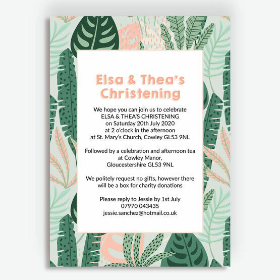 Mint & Peach Tropical Leaves Christening Invitation