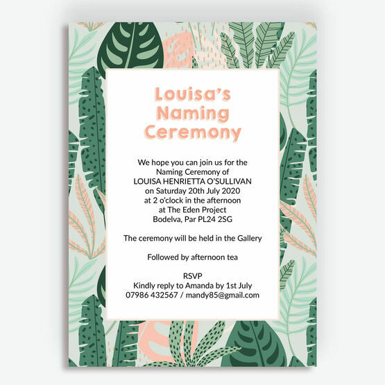 Mint & Peach Tropical Leaves Naming Day Invitation