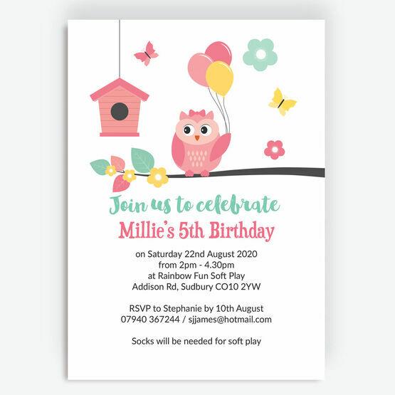 Cute Owl Birthday Party Invitation
