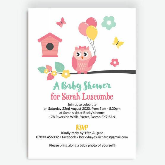 Cute Owl Baby Shower Invitation