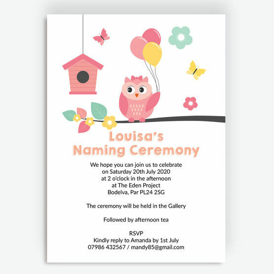 Cute Owl Naming Day Invitation