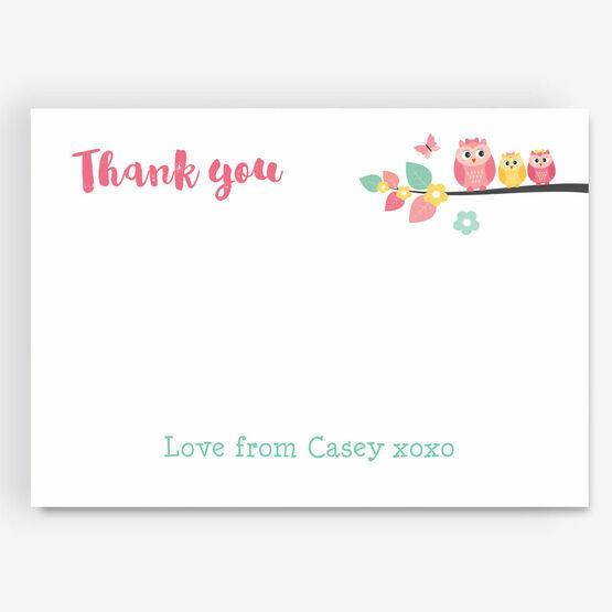Cute Owl Thank You Card