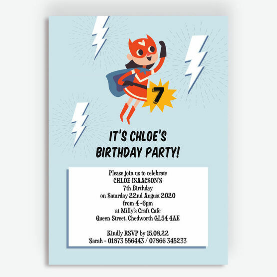 'Super Girl' Birthday Party Invitation