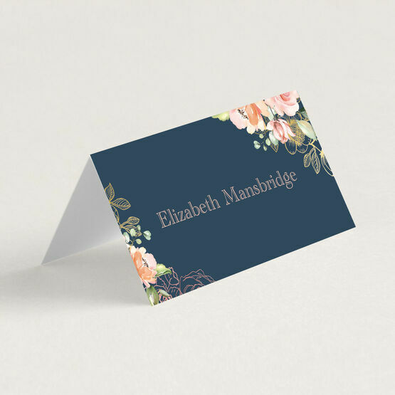 Navy, Blush & Rose Gold Floral Place Cards