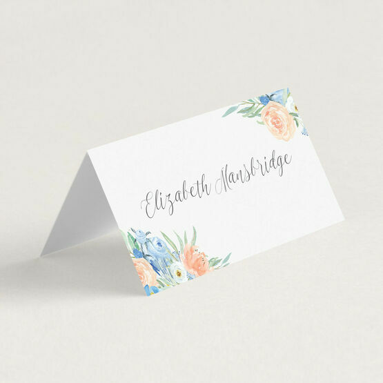Peach & Blue Floral Place Cards