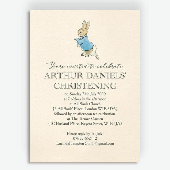 Beatrix Potter Peter Rabbit Christening / Baptism Invitation