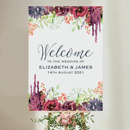 Burgundy Floral Wedding Welcome Sign