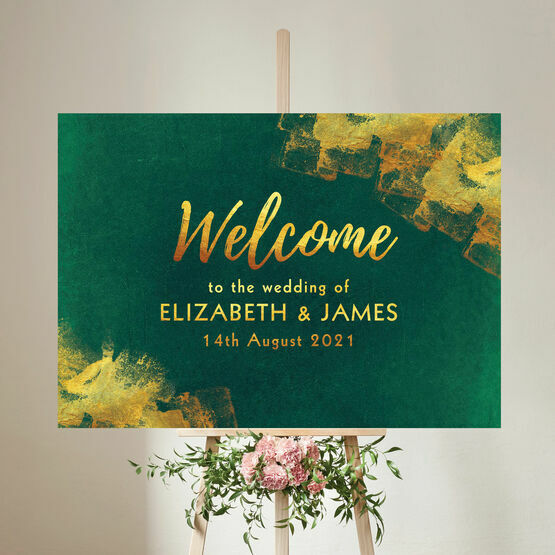 Emerald & Gold Wedding Welcome Sign