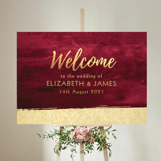Burgundy & Gold Wedding Welcome Sign
