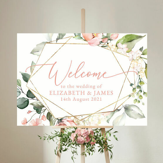 White, Blush & Rose Gold Floral Wedding Welcome Sign