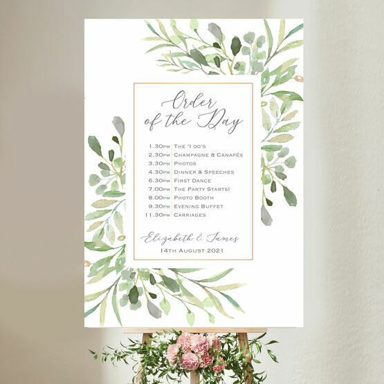 Greenery Wedding Order of the Day Sign