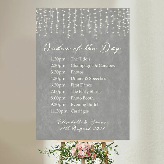 Dove Grey Fairy Lights Wedding Order of the Day Sign