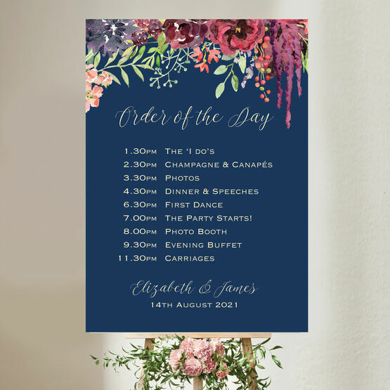 Navy & Burgundy Floral Wedding Order of the Day Sign