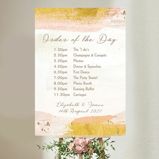 Blush & Gold Brush Strokes Wedding Order of the Day Sign