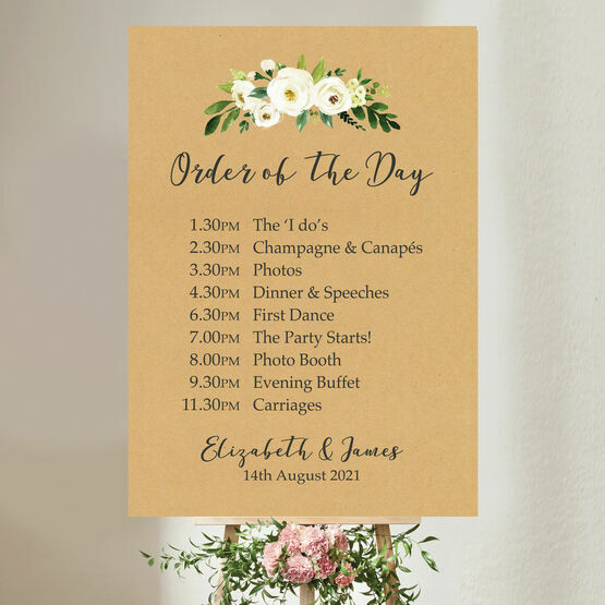 Rustic Cream Flowers Wedding Order of the Day Sign