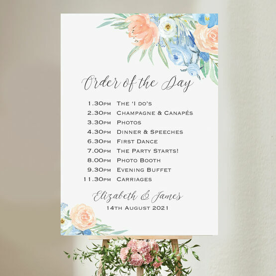 Peach & Blue Floral Wedding Order of the Day Sign