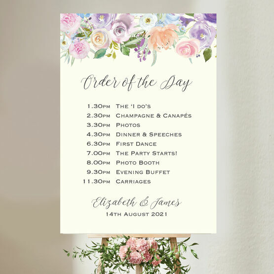 Spring Pastel Floral Wedding Order of the Day Sign
