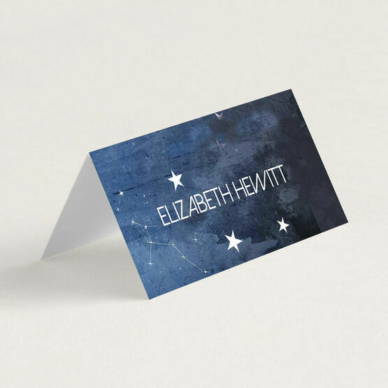 Midnight Stars Folded Wedding Place Cards