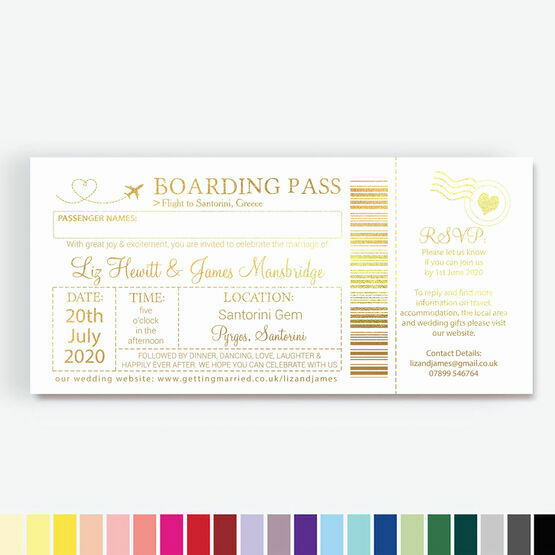 Foil Printed Boarding Pass Wedding Invitation