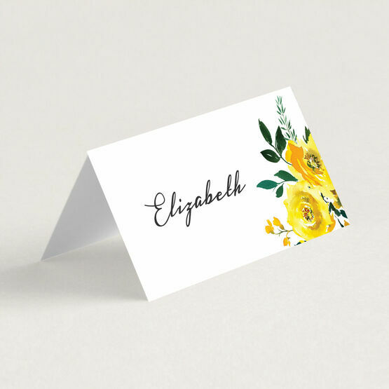 yellow floral wedding place card from £120 each