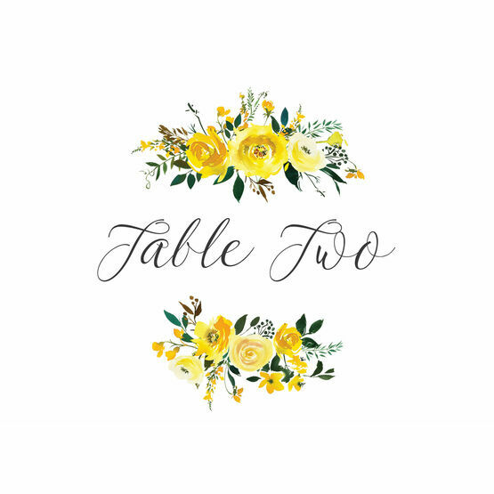 Yellow Floral Wedding Table Name