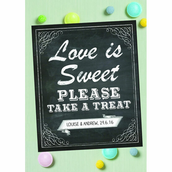 Vintage Chalkboard Love is Sweet Sign or Poster