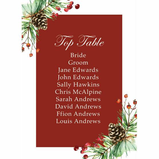 Berries & Pine Cones Christmas Wedding Table Plan Card