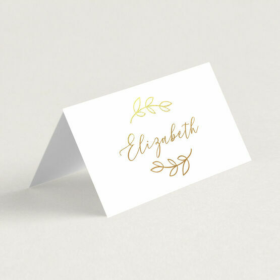Leaf Motif Real Foil Printed Wedding Place Cards