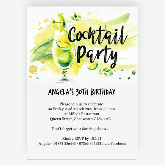 Summer Cocktail Party 30th Birthday Party Invitation