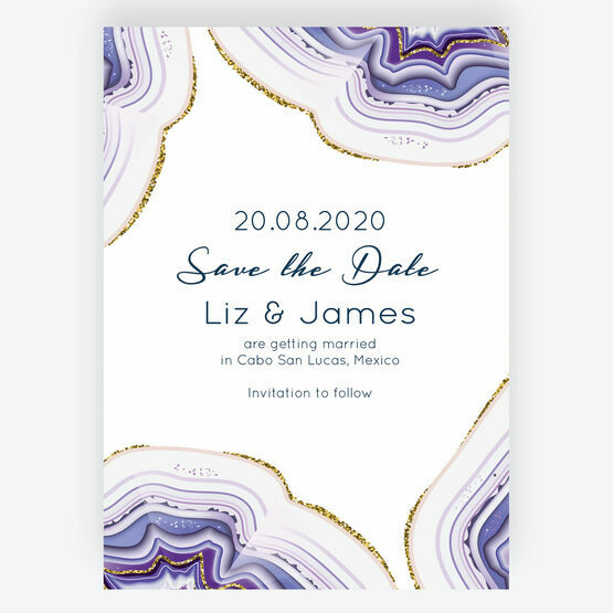 Purple & Gold Agate Wedding Save the Date