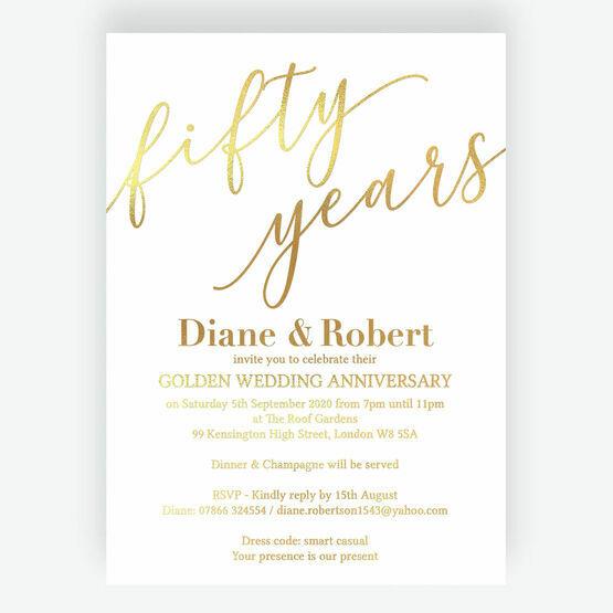 Gold Foil Golden / 50th Wedding Anniversary Invitation